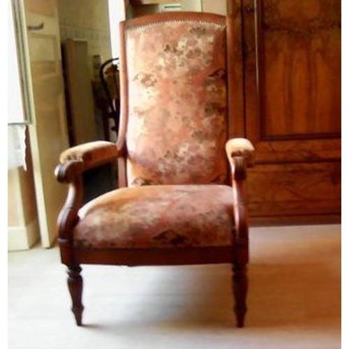 fauteuil voltaire en merisier et tissus fleurs achat et vente. Black Bedroom Furniture Sets. Home Design Ideas
