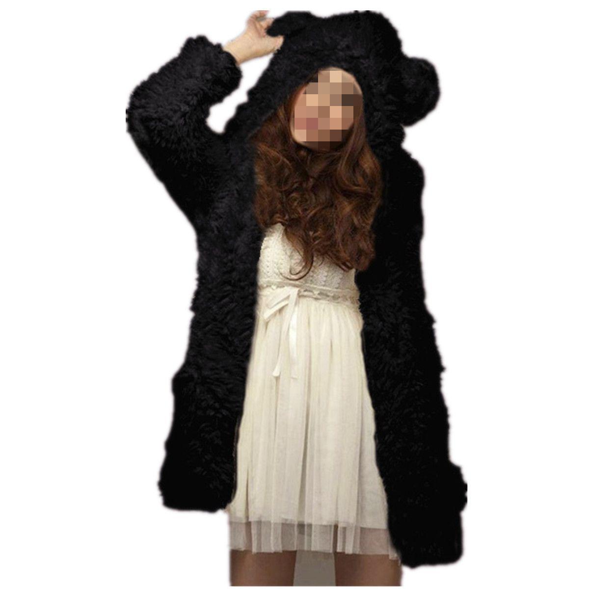 Cardigan Veste Capuche Peluche Animal Outwear En Manteau Femme Oreilles 0qPv11