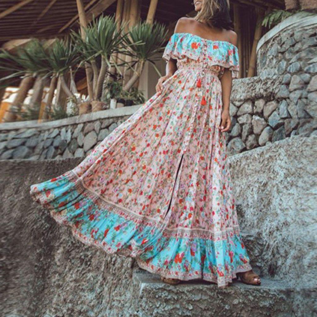Femmes d'été bohème imprimé taille col en V en mousseline de soie plage robes longues