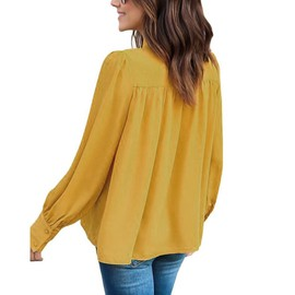Bow Femmes Plein T Manches Longues Shirt Tops Chemisier Jaune Loisirs PXZwuOiTlk