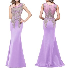 AsiatiqueIl D'honnsirène Recommandé Robe Demoiselle Formelle Bal Femmes Soirée Violet;taille D'en De Longue Perles Est PwXn0Ok8