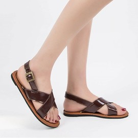 09d8b0198cebf1 Femmes Mode Summer Beach Sandales Romaine Toes Sandales Plates Chaussures  Casual@Marron