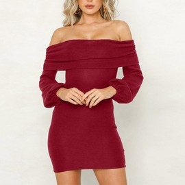 c6ce93573ac Femmes Robe Sexy Solides Manches Longues Off Tricot Robe Pull  Vin Rouge