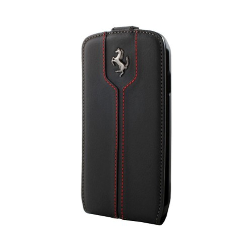 ferrari etui portefeuille rabat cuir noir montecarlo pour samsung galaxy s4 i9500. Black Bedroom Furniture Sets. Home Design Ideas