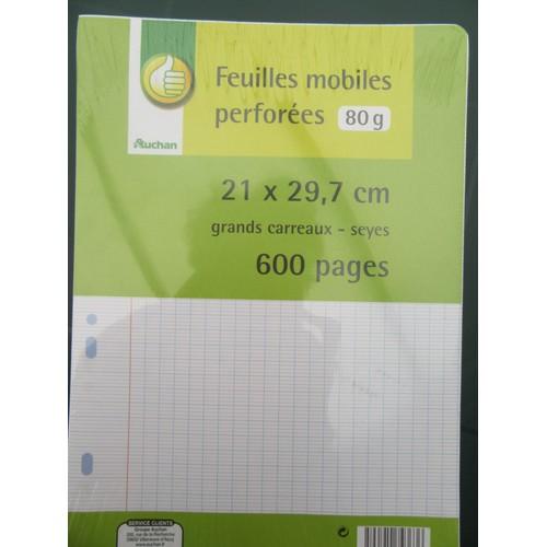 Feuilles simples perfor es grands carreaux 600 pages 21 x 29 7 for Feuille simple grand carreaux