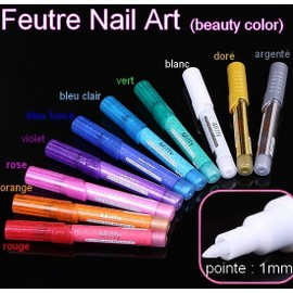 feutre nail art pour dessiner sur les ongles 10 couleurs manucure. Black Bedroom Furniture Sets. Home Design Ideas