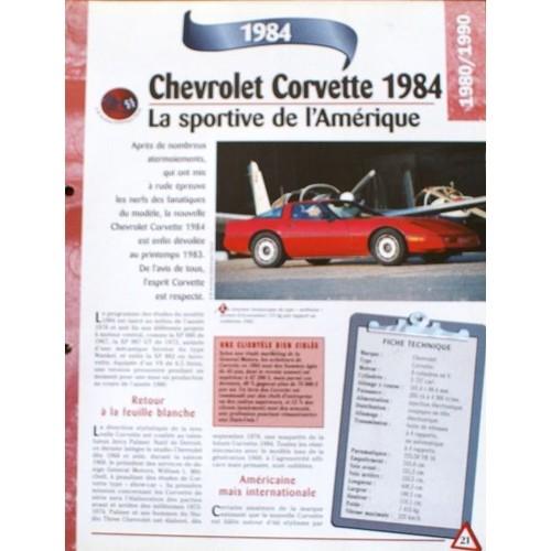 Fiche Technique Recto Verso Chevrolet Corvette 1984 Rakuten