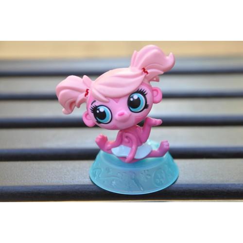 Figurine littlest petshop fille singe rose sur socle - Petshop singe ...