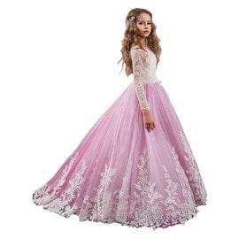 Fille Robe Princesse Longue Dentelle Appliques Fleur Mariage Soirée Party  Cérémonie Rose