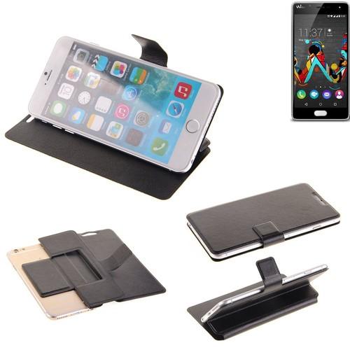 flipcover slim book style wallet case housse poche coque de protection pour wiko ufeel noir. Black Bedroom Furniture Sets. Home Design Ideas