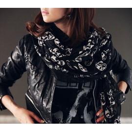 Foulard Mode Élégant Élégance Écharpe Punk Gothique Mode Gothc Tête De Mort