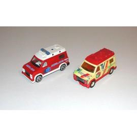 fourgon van majorette lot 2 voitures pompier ambulance et tv service echel. Black Bedroom Furniture Sets. Home Design Ideas