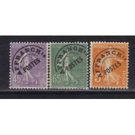 France 1922 : Type Semeuse - S�rie De 3 Timbres Pr�oblit�r�s Oblit�r�s