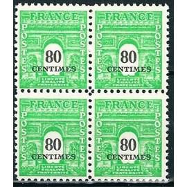 France 1945 - Tr�s Beau Bloc Arc De Triomphe De L'�toile - 80 Cts Vertr Jaune, Yv. 706, Neuf** Luxe