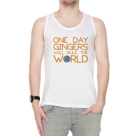 1a3458417 Funny Ginger Hair Rule The World Homme Débardeur T-Shirt Blanc Manches  Courtes Taille S