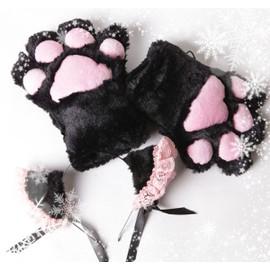 Gants une paire de patte chat les oreilles chat serre t te gant peluche doux cosplay soir e - Oreille de chat serre tete ...