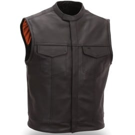 Gilet Cuir Biker Col Mao Sons Of Anarchy