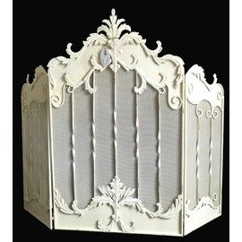 grand pare feu grille de chemin e protection po le bois granul s en fer patin blanc antique. Black Bedroom Furniture Sets. Home Design Ideas