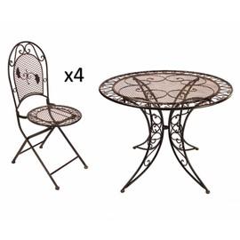 grand salon de jardin 4 places 1 table ronde 100cm 4 chaises pliables en fer patin marron - Chaises Pliables