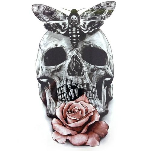 Grand Tatouage Temporaire Rose Autocollant Horloge Tete Mort