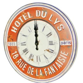 grande horloge plaque en t le relief 40cm ancienne pub vintage rouge hotel du lys paris. Black Bedroom Furniture Sets. Home Design Ideas