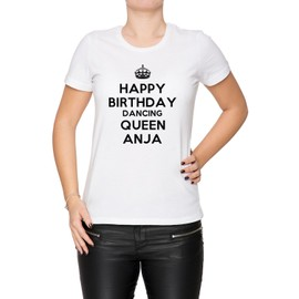 c88cc3083 Happy Birthday Dancing Queen Anja Femme T-Shirt Cou D'Équipage Blanc  Manches Courtes