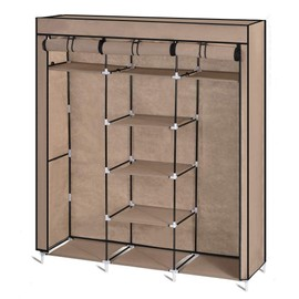 penderie armoire pliante en tissu beige pour le rangement des v tements. Black Bedroom Furniture Sets. Home Design Ideas