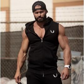 hommes coton capuche sweats fitness v tements gym bodybuilding d bardeur homme sans manches. Black Bedroom Furniture Sets. Home Design Ideas