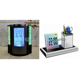 horloge led pot a stylo crayon bureau lumineux date. Black Bedroom Furniture Sets. Home Design Ideas
