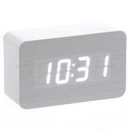 horloge r veil alarme digital led en bois thermom tre temp rature usb aaa blanc. Black Bedroom Furniture Sets. Home Design Ideas