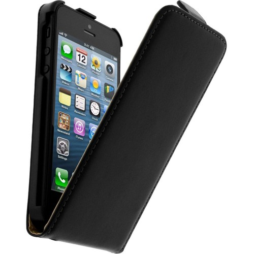 Housse clapet cuir apple iphone 5 5s etui protection for Etui housse iphone 5