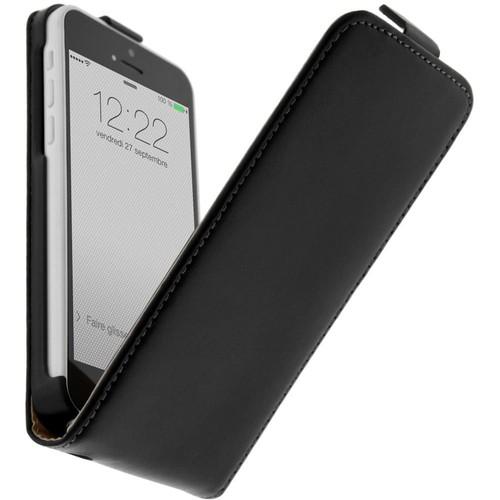 Housse clapet cuir apple iphone 5c etui protection noir for Housse iphone 5c