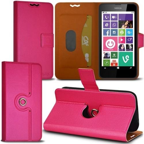 Housse Coque Etui Fonction Support 360 Degrés Universel S Couleur Rose  Fushia Pour Nokia Lumia 630 d961284fbcd
