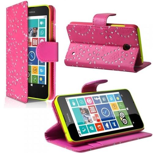 Housse Coque Etui Portefeuille Fonction Support Style Diamant Couleur Rose  Fushia Pour Nokia Lumia 630 463db40e1b5