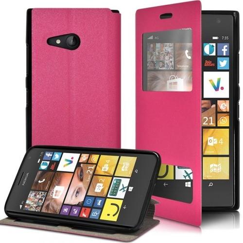Housse Coque Etui S-View Fonction Support Couleur Rose Fushia Pour Nokia  Lumia 735 b99a23317ee