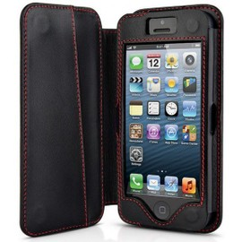 Housse Cuir Iphone 5, Beyza New Folio Classic, Noir