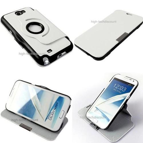 Housse etui coque pochette 360 blanc pour samsung n7100 - Pochette pour tablette samsung ...