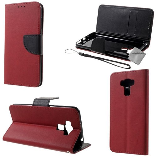 housse etui coque pochette portefeuille pour asus zenfone 3 max plus zc553kl film ecran rouge. Black Bedroom Furniture Sets. Home Design Ideas