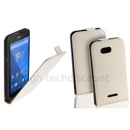 Housse Etui Coque Pochette Pu Cuir Fine Pour Sony Xperia E4g Dual + Film Ecran - Blanc