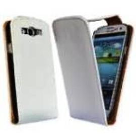 Housse Etui Coque Vrai Cuir Blanc Veritable Pour Samsung Galaxy S3 Siii + Film