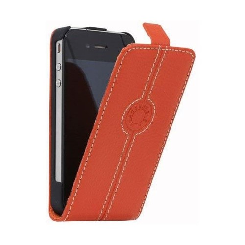 Housse etui cuir orange a rabat faconnable pour apple for Etui housse iphone 4