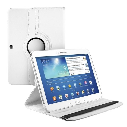 offer buy  housse tablette pouces samsung galaxy tab p etui rotatif coque pochette book rotative rotation inclinable avec support en cuir pu couleur blanc film d ecran