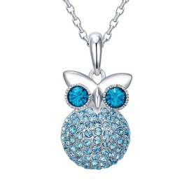 Pendentif Hibou En Cristal Swarovski Elements Bleu Et Plaqué Rhodium - Blue  Pearls Cry E251 J Bleu e52cbaad84d4