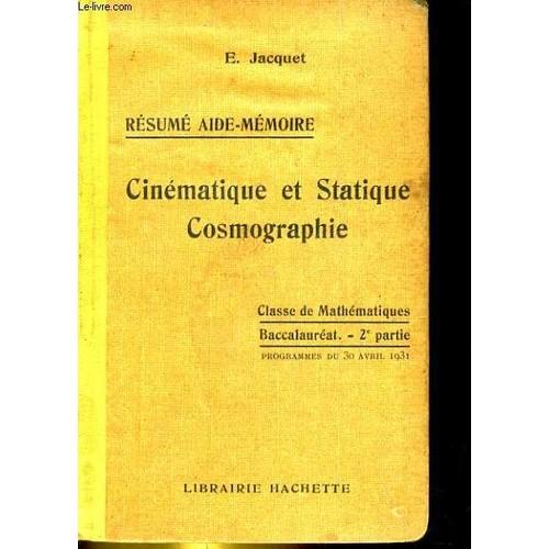 resume aide memoire   cinematique et statique cosmographie classe de mathematiques baccalaureat