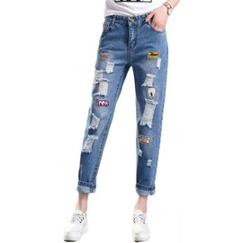 dbe797a32274e Jean Coupe Droite Femme Bleu Taille Haute Abrasions Broderie Patch
