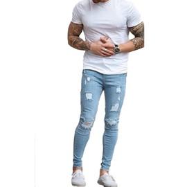 Jean Skinny Extensible Pour Hommes Mode Jean Déchiré Déchiré Jeans Déchiré  Denim