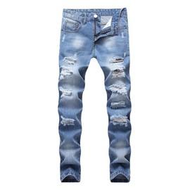 Incroyable Jeans Destroy Déchiré Homme Slim Fit Grand Trou Casual Jean Bleu Délavé  Troué 5 Poches