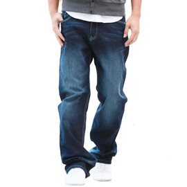 Coton Fit Jeans Pantalon Loose Casual Délavé Taille Droit En Grande Homme ztnwPptqZ