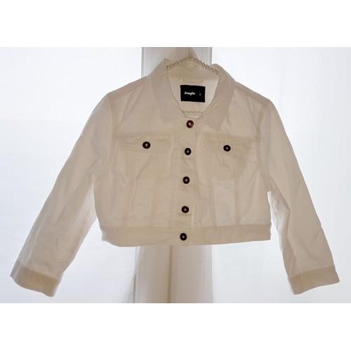 pas mal 6615a 39137 Jennyfer – Veste Blouson cropped ultra court en jean blanc Taille L-40