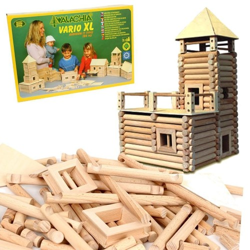 jeu kit de construction de chalet en rondins de bois vario xl 184 pcs enfant 5. Black Bedroom Furniture Sets. Home Design Ideas